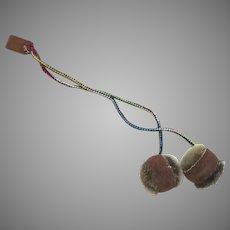 Vintage Hand Made Fur Leather Mitten String Braided Pom Pom Tassels