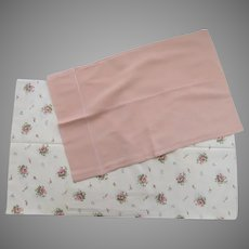 2 x Vintage Boudoir Pillow Cases Shams Pinks