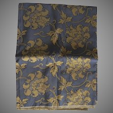 Large Blue & Gold Vines Fabric Piece