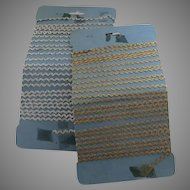 Vintage Baby Metallic Rick Rack Trim Gold Silver on Card