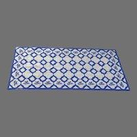 "Vintage 1980's Handmade Needlepoint Rug Delft Tile Motif 66 1/2"" by 31"""
