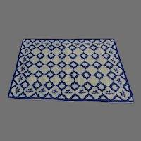 Vintage Handmade Needlepoint Rug Blue White Delft Tile Motif Signed Dated 1979