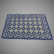 Vintage Handmade Needlepoint Rug Blue White Delft Tile Motif Signed Dated 1979