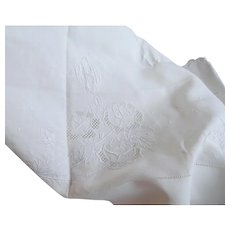 """Vintage 68"""" Wide Embroidered Linen Sheet and Pillowcase  Scalloped Edge"""