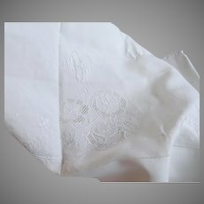"Vintage 68"" Wide Embroidered Linen Sheet and Pillowcase  Scalloped Edge"