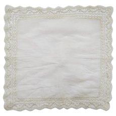 Vintage Lace Linen HANDKERCHIEF Bridal Heirloom Ecru