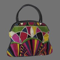 "1960's Emilio Pucci Multi Colored ""Stained Glass"" Signature Velvet Print Handbag Purse"