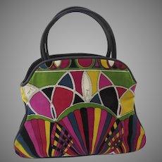 "1960's Emilio Pucci Multi Colored ""Stained Glass"" Signature Velvet Print Handbag Purse"