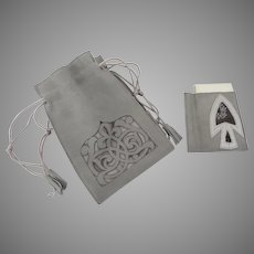 1900's Grey Suede Folding Draw String Tassel Ends Bag Purse with Matching Paper Pencil Case