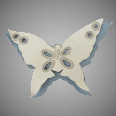 Vintage Kid Leather Suede Butterfly Clip