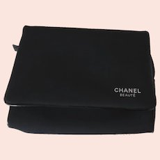 Vintage Chanel Beaute Bag Black with Red Interior Mirror Cosmetic Make-Up Excellent
