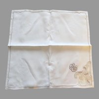 Set of 8 Vintage Linen Appliqué Inset Large Ecru Napkins