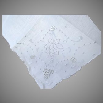 Vintage 1950's Desco Linen Handkerchief Never Used Hand Made in Madeira Brides