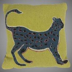 "Vintage Printed Canvas Throw Pillow Cheetah Leopard 17"" Square"