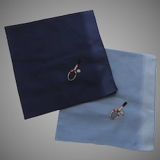 Vintage Large Cotton Handkerchiefs with Tennis Racket and Ball Embroidery