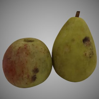Two Very Realistic Vintage Stone Fruit Apple and  Pear