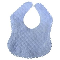 1900's Quilted White on White Baby Bib