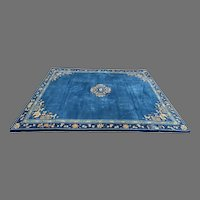 Vintage 1920 Chinese Blue and White Peking Rug 9' by 12'
