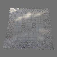 """Vintage 46"""" Square Crochet Lace Tablecloth Ecru"""