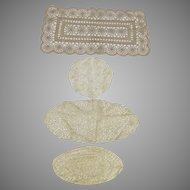 Group of 4 Vintage Lace Doilies Ecru Off Whites Large Quality Work