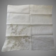 VINTAGE Embroidery Whitework Raised Appenzell Needle Lace HANDKERCHIEF Floral Bride Wedding