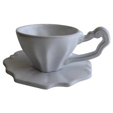 4 x Vietri Antico Bianco Collection Cup and Saucers