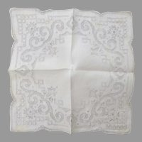Very Beautiful Linen Pull Work Embroidered Vintage Handkerchief Wedding Special Un-used