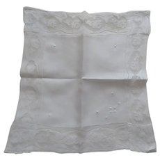 Beautiful Vintage Lace Linen Handkerchief Wedding Embroidered