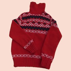 Vintage Handmade Knit Youth Sweater Red White Blue Nordic Scandinavian
