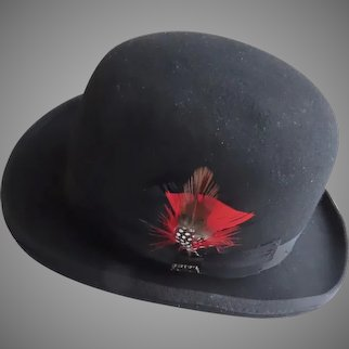 Vintage Derby Wool Hat by Scala Size Small Red Feather