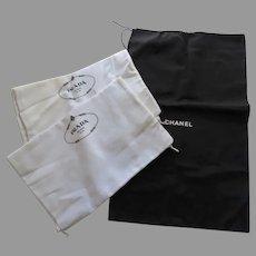 1 x Chanel large drawstring Dust Bag 2 x Prada Large Drawstring Dust Bags Storage