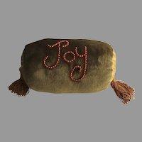 """Vintage Hand Made Velvet Bolster Cushion Beads Tassels """"Joy"""""""