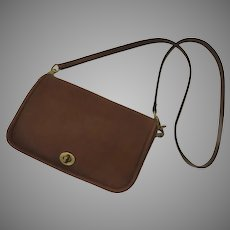 Vintage Leather Cross Body Coach Purse Bag Penny Detachable Handle Turn Lock Early Serial Number