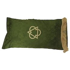Vintage Fringed  Fabric Case with Applied Embroidered Symbol Trinity Cushion Pillow