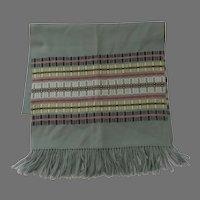 Vintage Madawaska Weavers 100% Wool Shawl Scarf Runner Throw Hand Made