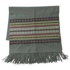 Vintage Madawaska Weavers 100% Wool Shawl Runner Throw Hand Made