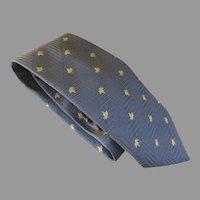 Handmade Silk Tie Blue Gold