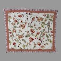Vintage Pillow Case Sham Standard Waverly Retweet Berry Quilted Parrots