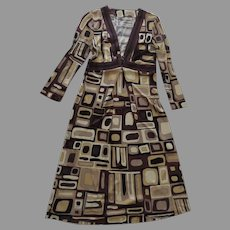 Vintage Emilio Pucci Geometric Dress Italy V Neck