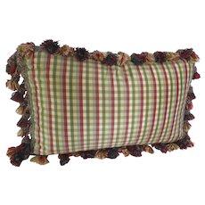 Vintage Custom Made Silk Fringe Cushion Down Fill