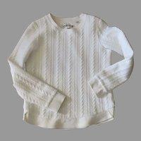 Cotton Cable-Stitch White Sweater Orvis