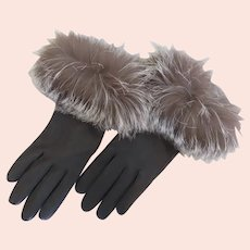 Vintage Leather Gloves with Fox Trim Made in the USA
