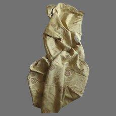 "Vintage Coraggio Textiles Large Fabric Sample 51"" by 101"" Made in Italy Saffron Gold Brocade Leucio"