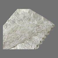 Vintage MADEIRA Lace Embroidery Bridal Handkerchief LINEN 800 Silver Paulus Vl Pontifex Charm