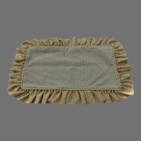 Vintage Pillow Sham Brocade Gold Blue Ruffle