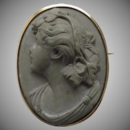 19th Century Lava Cameo Women's Profile 10K Gold Setting