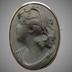 19th Century Lava Cameo Women's Profile 10K Gold Setting