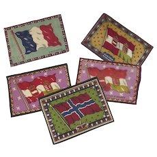 5 x (five) 1910's Cigar Felts Flannels Flags