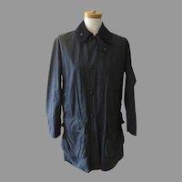 Vintage Women's Barbour Waxed Coat Jacket Dark Navy Corduroy Collar Hunting Shooting
