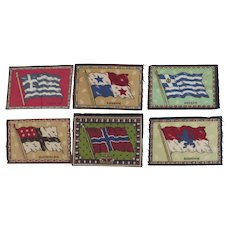 Group of Six Vintage Cigar Felts Flannels 1910's Flags
